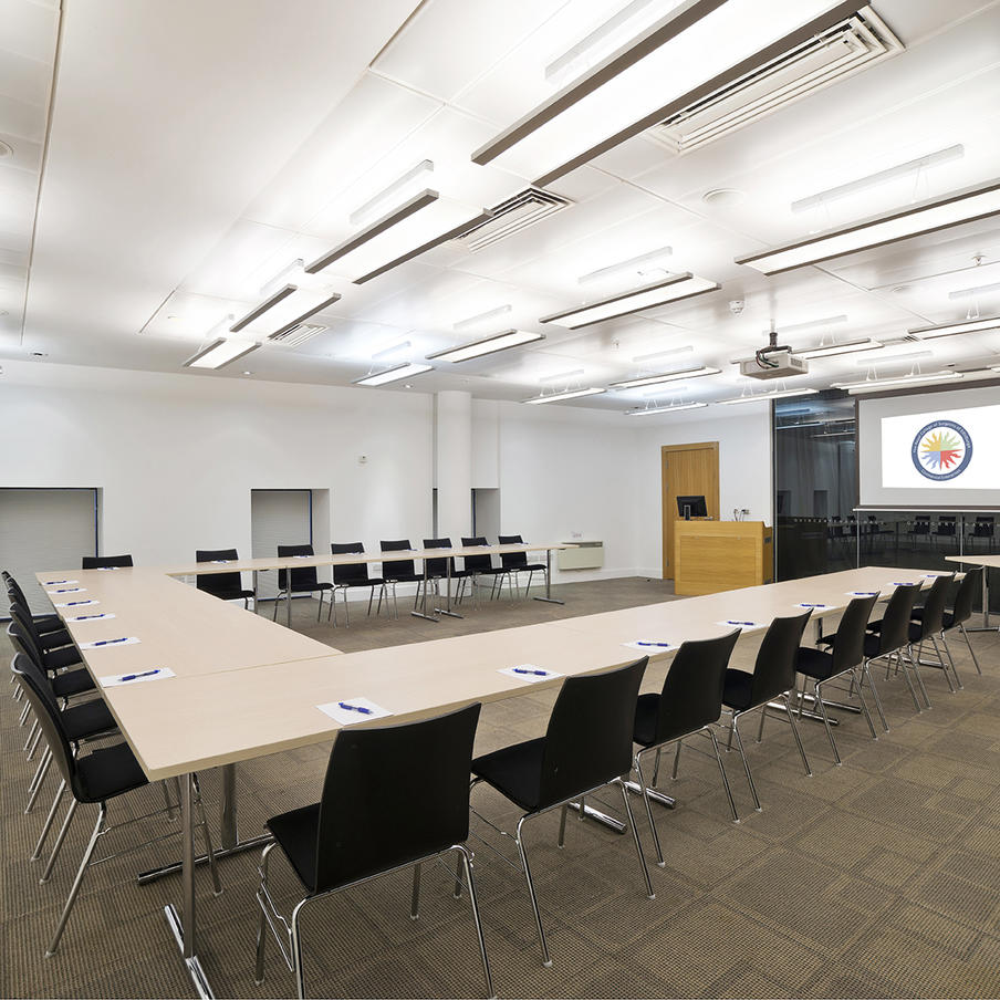 GB Ong Room set up boardroom style with excellent AV and black out facilities.