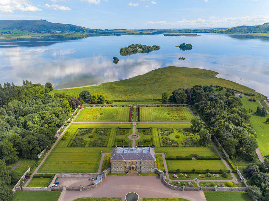 AerialView looking east over Kinross House Estate and Loch Leven