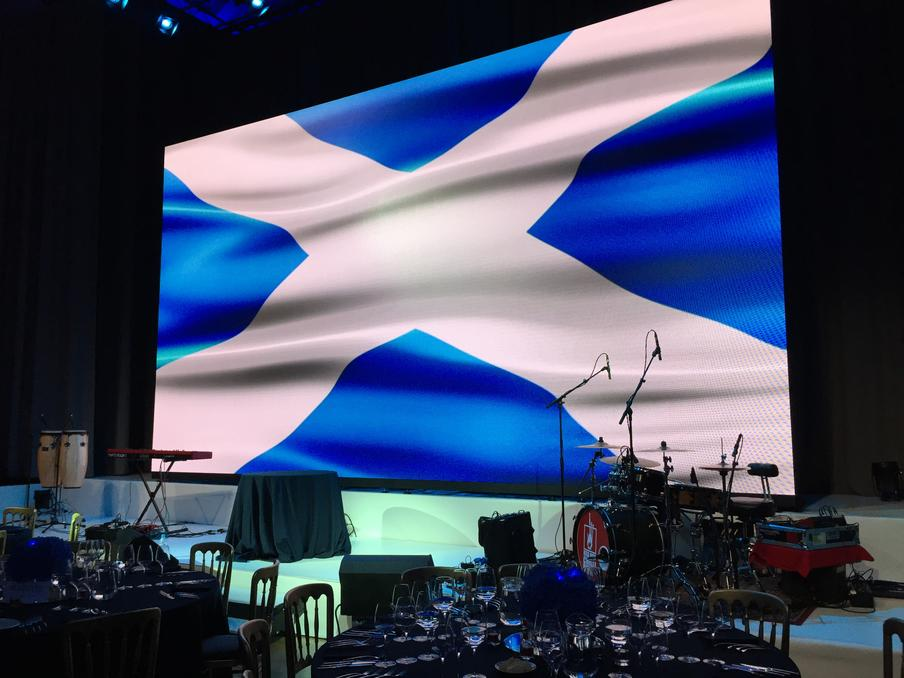 8m x 4.5m LED wall on stage in the Music Hall at the Assembly Rooms.