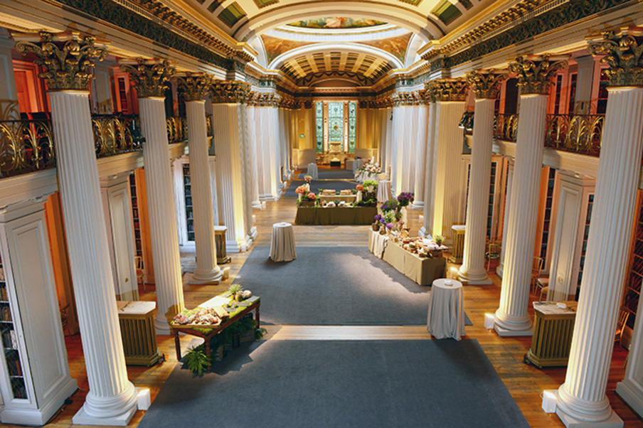 Stylish corporate events at the Signet Library - interactive buffet stations reception