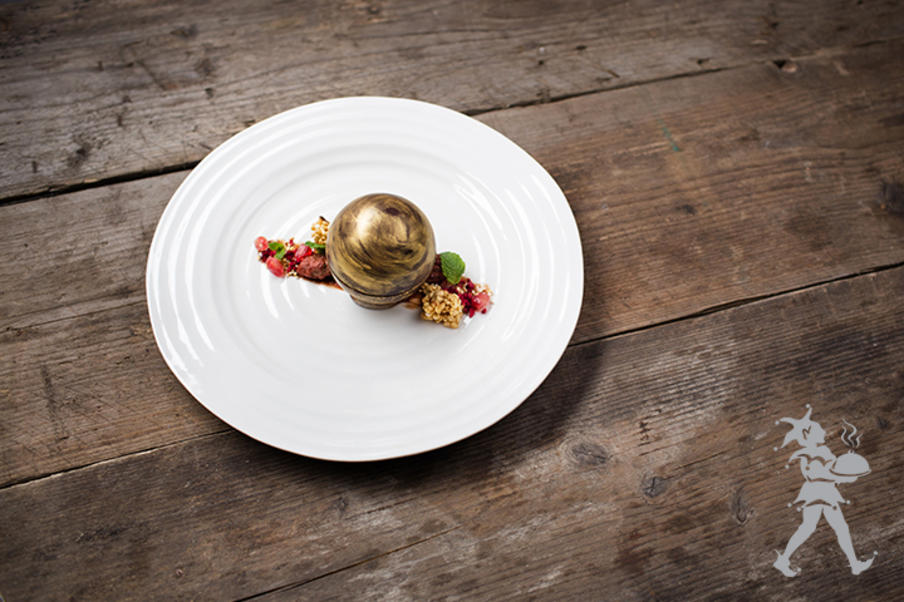 Chocolate sphere dessert by Heritage Portfolio - catering company in Edinburgh