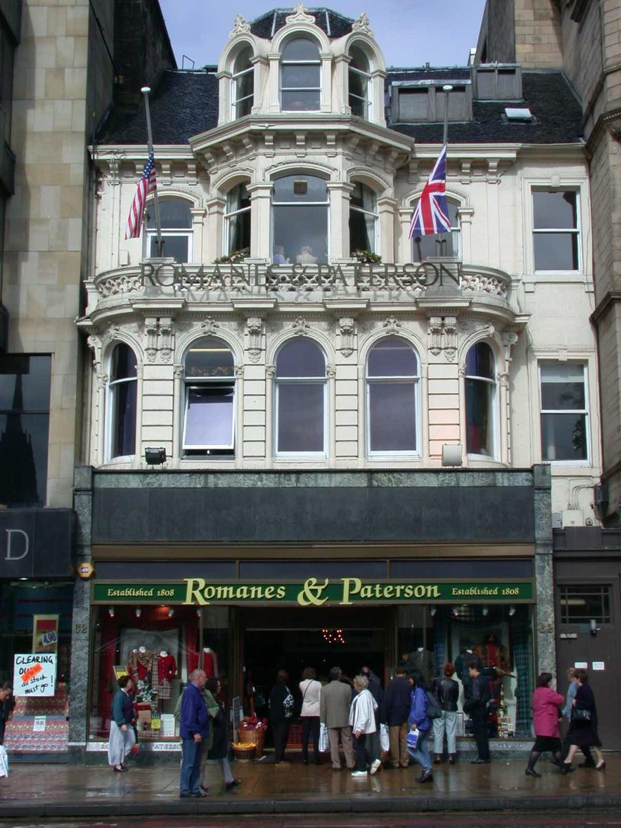 Exterior of Romanes & Paterson on Edinburgh Princes Street.