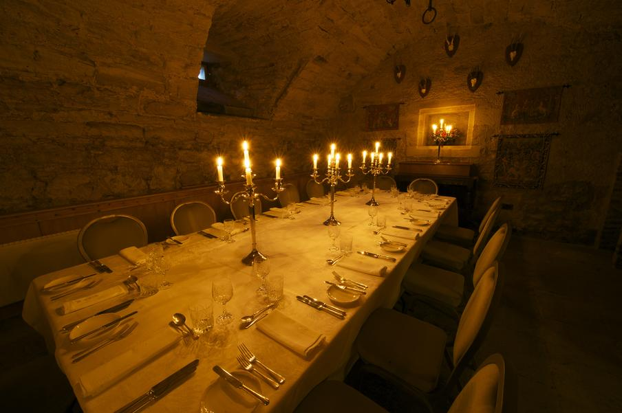 Winton Castle cellar set for an intimate candle-lit dinner
