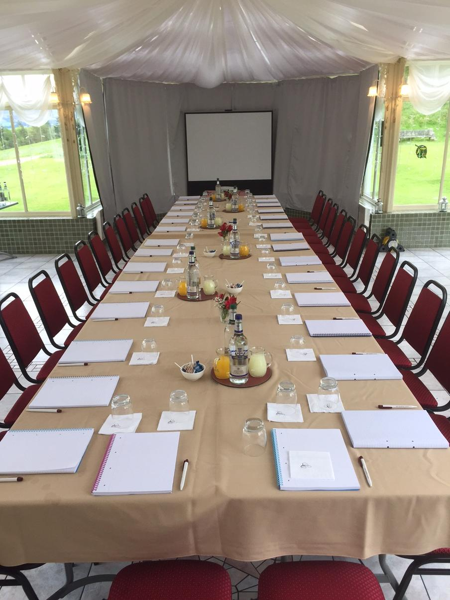 Board room meeting setting at Cringletie House Hotel.