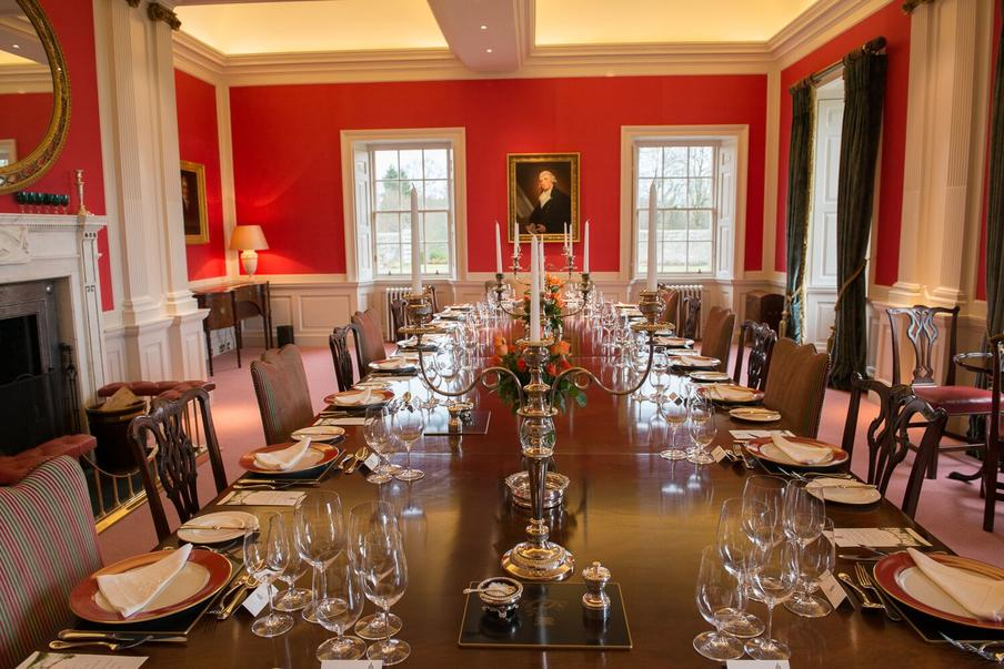 Main dining room of Kinross House overlooking Estate gardens