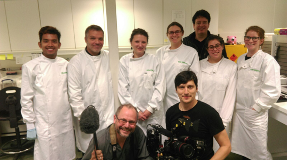 RZSS WildGenes team members making a documentary with ZDF - Zweites Deutsches Fernsehen, about the use of genetic data in helping fight illegal wildlife trade.