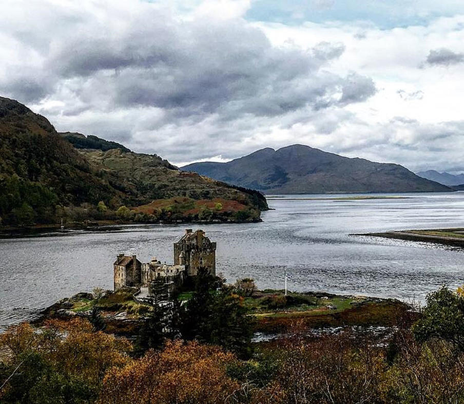 Eilean Donan Castle and view of loch.