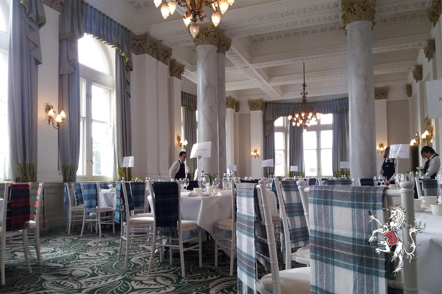 Staying at the Balmoral Hotel, this cosmetic company blended meetings with clan competitions. To bolster this team spirit and identity, each clan was given scarves in a different tartan at their welcome lunch.