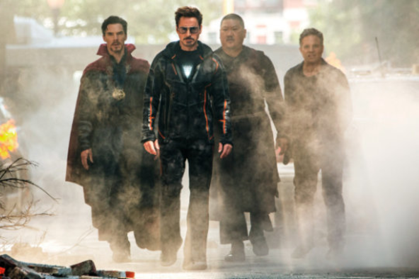 Avengers heroes walking down the street