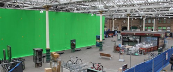 Green screen set up at Waverley Station